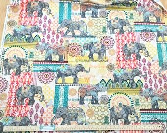 Caravan Elephant Suzani Multi ~ Timeless Treasures Collection, Cotton Quilt Fabric