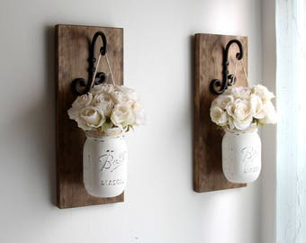 rustic home decor farmhouse decor mason jars sconce housewarming gift rustic sconces - Rustic Farmhouse Decor