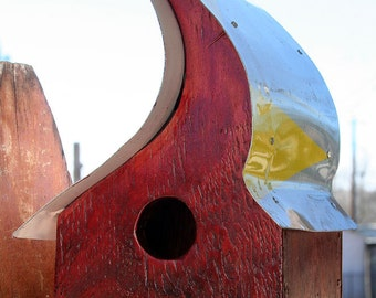 Handcrafted Birdhouse, Reclaimed Wood, Recycled, Upcycled, Red Small Moon Shaped