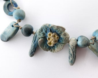 Ceramic beads, 17 beads, Bohemian, Nature, rustic, blue