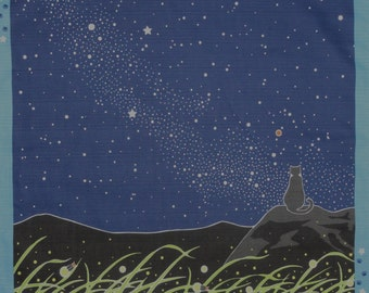 Furoshiki Cloth Fabric for Quilting 'Tama the Cat and the Milky Way' Cotton Blue and Black 50cm w/Free Insured Shipping