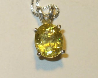 Sparkling Fiery Natural Titanite ( Sphene ) Pendant Necklace  - Genuine Gemstone in Solid Sterling Silver