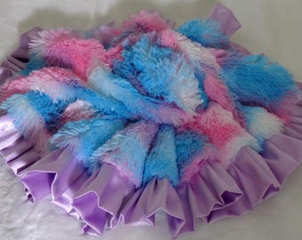 Round or Square Blanket with  Ruffle - Dog Blanket - Baby Blanket - Cotton Candy Colors Shaggy Minky