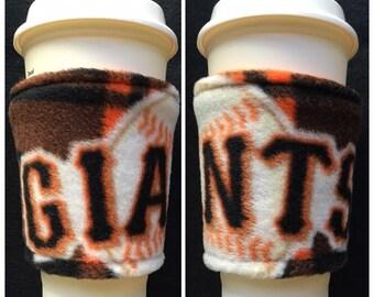 Set of 2 San Francisco Giants Baseball Fleece  Fabric Coffee Cozy ,  Disposable  Coffee Cup Holder - Coffee Sleeve - Coffee Cozies