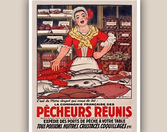 Fishwife print, Kitchen art, kitchen decor, vegetables, mushrooms, mollusk educational poster, fishes, seaweeds, decor, fishmonger, 11x14