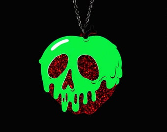 """Poison Apple Necklace - Red Glitter Apple - SMALL 2"""" - You Select Poison Slime Color - Acrylic Laser Cut Necklace"""