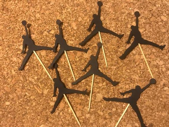 12 CT Michael Jordan Cupcake Toppers Jumpman Jordan Theme