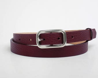 Leather Belt, Burgundy Leather Belt, Burgundy Womens Belt, Skinny Belt, Thin Belt, Dress Belt