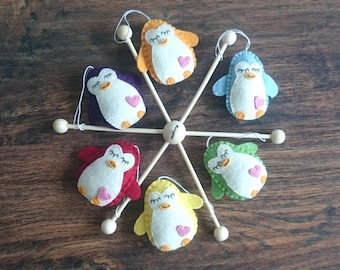Colorful felt penguins baby mobile for any nursery room - FREE FEDEX SHIPPING