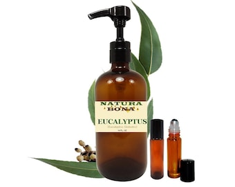 Eucalyptus Essential Oil 16 oz Pump Bottle with 2 Amber Glass Roller Bottles. - Therapeutic Grade 100% Pure Eucalyptus Oil