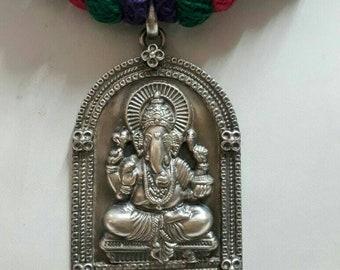 Ganesha Pendant 92.5 Sterling Silver Pendant. Handmade Hindu God of Begning and Success Ganesha Pendant.Hindu Elephant Head God Pendant