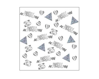 Sparkly Silver Anniversary table confetti, wedding anniversary, Silver Wedding, 25th Wedding Anniversary, table decorations, UK seller