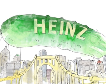 Pittsburgh Picklesburgh Ink and Watercolor Drawing