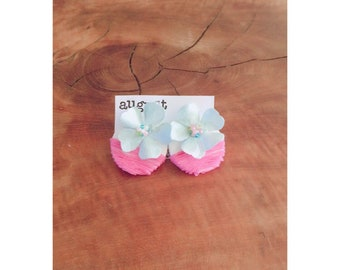Colorful flower and stripes flirty stud earrings