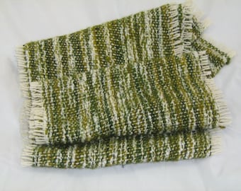Green and ecru hand woven scarf