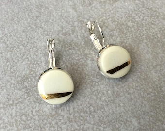 Earrings * porcelain and gold *.