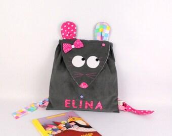 Sac à dos enfant maternelle souris personnalisé prénom Elina gris rose cartable personnalisable fille sac à dos crèche nounou  cadeau bébé