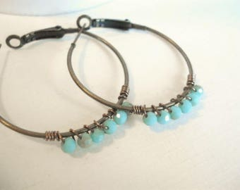 Beaded Turquoise Earrings Wire Wrapped Turquoise Brass Hoop Earrings Turquoise Jewelry Minimalist Jewelry