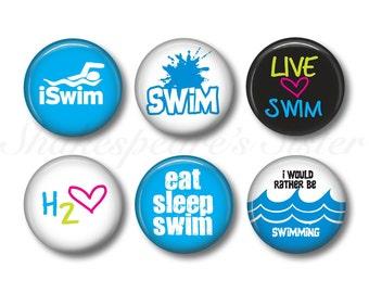 Swimmer Magnets - Fridge Magnets - Swim Magnets - 6 Magnets - 1.5 Inch Magnets - Kitchen Magnet
