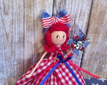 Vintage atomic retro inspired july 4th ornament art doll red hair America USA ted gingham 4th of july decor