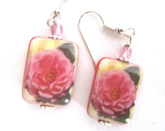 Rose Blossom Earrings. Mother of Pearl Shell Earrings. Handmade.