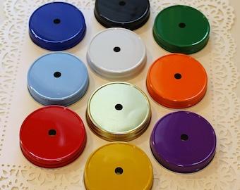 Mason Jar Lids, 18 Mason Jar Lids with Straw Hole, Colored Jar Lids, Mason Jar Cups, Kids Mason Jar, Lemonade Mason Jar Lids, Party Favors