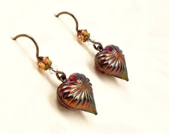 Art Deco Puffed Heart Earrings with Rainbow Patina and Niobium Earwires