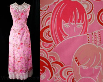 Size 10 Novelty Print 60s Summer Dress - Vintage Vixens In Glam Poses - 1960s Pink & Red - Sleeveless Maxi - Shifts Internationale - 44649