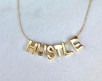 18k Gold Vermeil HUSTLE Necklace on a Gold Filled Chain | Customizable With Any Six Letters