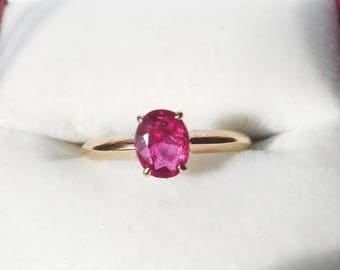 14K Gold Natural Genuine 1.32 carat Solitaire Ruby Ring Ruby Engagement Ring July Birthstone Jewelry 14K Gold Ruby Ring Solitaire Ruby Ring