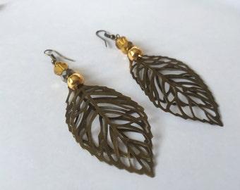 Bronze Leaves earrings, dangly earrings, drop leaf earrings, bronze boho earrings, long earrings, gift for her, UK shop