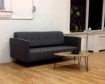 BOKZ button back sofa with arm rests BSA    Mid Century Modern Eames Era Dannish Classic Design