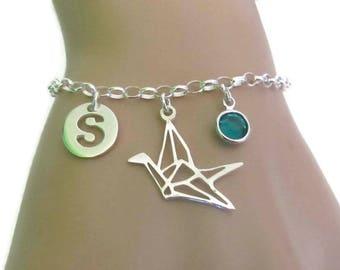 Personalized Crane Bracelet, Birthstone Bracelet, Initial Bracelet, Origami Crane, Sterling Silver Bracelet, Jewelry, Gift for Her