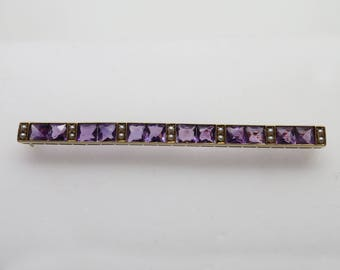 Stunning Antique 14K YG Square Faceted Amethyst & Seed Pearl Bar Pin