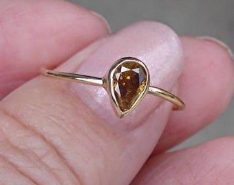 0.45 Carat Golden Brown Pear Cut Diamond Bezel Set Ring in 14K Yellow Gold