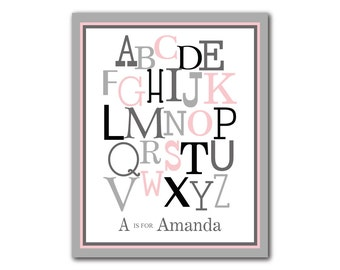Pink Gray Nursery Decor Alphabet ABC typography Nursery Wall Decor Personalized Art Print Kids Room Playroom Home Decor Baby Girl Nursery