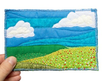 Textile art with landscape in postcard size - postcard with landscape - landscape with flowers