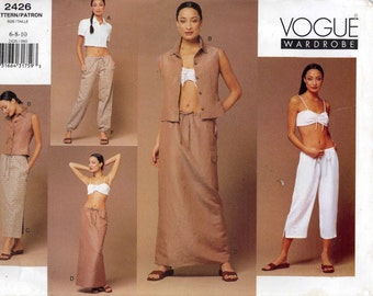 Summer Bra top pants pattern shirt skirt pants and bra top sewing pattern Vogue 2426 12 to 16 UNCUT