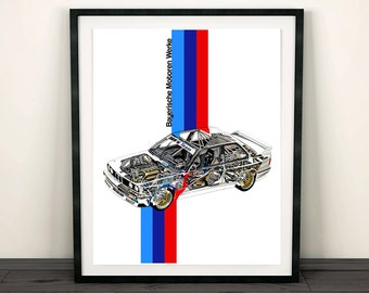 BMW E30 Poster, BMW Decor, Printable Art, BMW Wall Art, E30 bmw, E30 M3, Instant Download, Automotive Art, Garage Decor, 8x10, 14x11, 16x20""