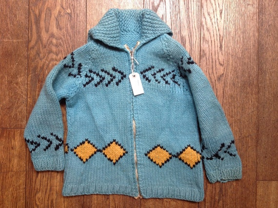 """Vintage 1960s 60s vibrant turquoise blue kids childrens youth handknitted cowichan sweater cardigan Lightning zipper rockabilly 34"""" chest"""
