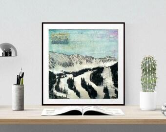 "Ski Trails Print: Mixed Media Photography, Arapahoe Basin, Colorado Mountain Print, aqua, range, CO gift 8""x8"" or 12""x12"" ski print ""Trails"""