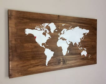 World map heart etsy personalised custom heart map on wood anniversary wedding long distance relationship gift large timber gumiabroncs Gallery