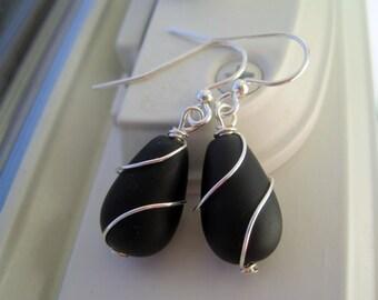 Black Glass Earrings - Cultured Sea Glass Jewelry - Black Glass Jewelry - Wire Wrapped Earrings - Recycled Glass - Black Jewelry