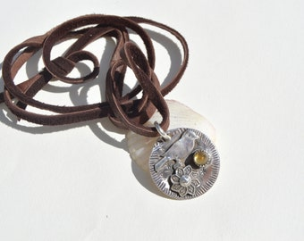Citrine Sterling Silver Necklace . Flowers .Bird. Hand Forged . Sterling Necklace.Rustic. Necklace.