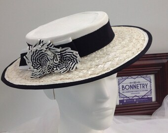 Black and White Upcycled Boater style hat