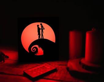 Wood night lamp Nightmare before christmas gift/Nightmare before christmas jack and sally wedding gift/Nightmare before christmas fan gift