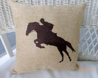 Equestrian pillow - Embroidered Burlap Horse pillow - Burlap pillow - animal pillow - Pillows - Equestrian rider - Horse pillow