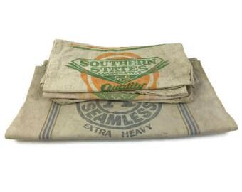 Vintage Grain Sack Bag - Feed Sack Bag - Primitive Grain Sack Bag - Seed Sack Bag - Laundry Bag - Urban Farmhouse Decor