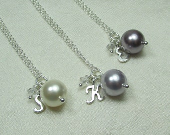 Bridesmaid Jewelry Set of 6 Personalized Bridesmaids Gifts Pearl Bridesmaid Necklace Sterling Silver Initial Necklace Wedding Jewelry
