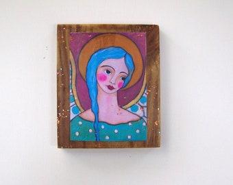"Folk Art Angel Woodblock Print from Original painting 6 1/2"" x 5 1/2"""